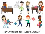man sitting at the table with... | Shutterstock .eps vector #689620534