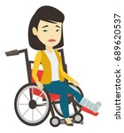 woman with leg in plaster... | Shutterstock .eps vector #689620537