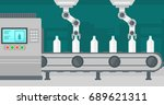 robotic arms working on the... | Shutterstock .eps vector #689621311