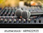 dual microphones put on the... | Shutterstock . vector #689622925