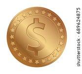 bronze dollar coin icon. vector ... | Shutterstock .eps vector #689624875