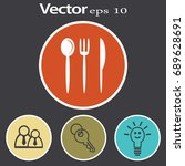 flat icon. fork spoon knife. | Shutterstock .eps vector #689628691