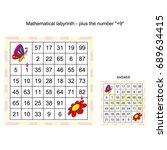 worksheet. mathematical... | Shutterstock .eps vector #689634415