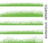 grass border set. horizontal... | Shutterstock .eps vector #689638531
