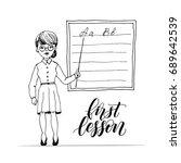 teacher teaching at class on... | Shutterstock .eps vector #689642539
