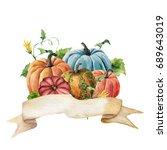 Watercolor Autumn Label. Hand...