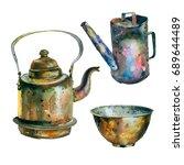 watercolor painting vintage... | Shutterstock . vector #689644489
