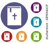 bible icons set in flat circle... | Shutterstock . vector #689646619