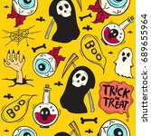 cartoon halloween seamless...   Shutterstock .eps vector #689655964