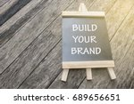 mini black board written build... | Shutterstock . vector #689656651