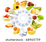 table of vitamins   set of food ... | Shutterstock .eps vector #68965759
