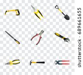 realistic wrench  scissors  arm ... | Shutterstock .eps vector #689661655