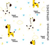 cute baby giraffes pattern with ... | Shutterstock .eps vector #689663401