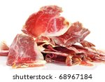 closeup of a pile of spanish serrano ham - stock photo