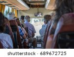 the touristic bus interior with ... | Shutterstock . vector #689672725