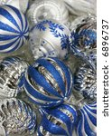 blue and silver ornaments - stock photo
