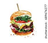 traditional hamburger.... | Shutterstock . vector #689676277