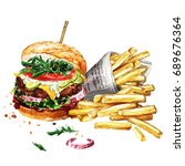 traditional hamburger with... | Shutterstock . vector #689676364