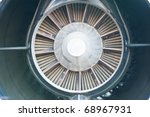Back of An Aircraft Jet Engine - stock photo