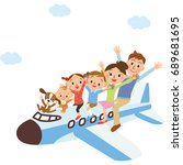 families riding an airplane | Shutterstock .eps vector #689681695