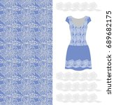 pattern. lace. blue dress with... | Shutterstock .eps vector #689682175