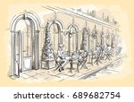 french street cafe  hand drawn... | Shutterstock .eps vector #689682754