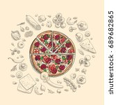 set of pizza ingredients in... | Shutterstock .eps vector #689682865