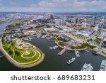 aerial view long beach pike ... | Shutterstock . vector #689683231