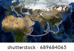 one belt one road route map ... | Shutterstock . vector #689684065