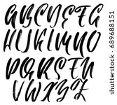 hand drawn dry brush font.... | Shutterstock .eps vector #689688151