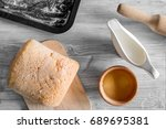 make bread. loaf and... | Shutterstock . vector #689695381
