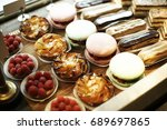 a bakery lined with macaroons | Shutterstock . vector #689697865