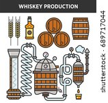 whiskey production technology... | Shutterstock .eps vector #689717044