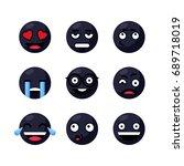 set of black cute smiley... | Shutterstock .eps vector #689718019