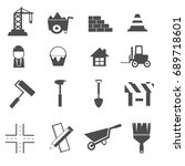 construction icons set vector | Shutterstock .eps vector #689718601
