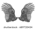 wings pair set. hand drawn... | Shutterstock .eps vector #689720434