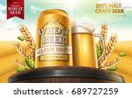 wheat beer ads with hops on top ... | Shutterstock .eps vector #689727259