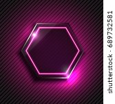 vector purple glowing glass... | Shutterstock .eps vector #689732581