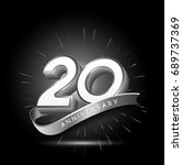 20 years silver anniversary... | Shutterstock .eps vector #689737369