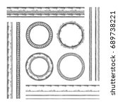 set of round  raster frames and ... | Shutterstock . vector #689738221