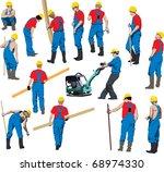 team of construction workers in ... | Shutterstock .eps vector #68974330