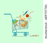 shopping basket with school... | Shutterstock .eps vector #689757781