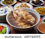 soup noodles with braised duck... | Shutterstock . vector #689760595
