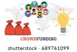 vector crowdfunding technology... | Shutterstock .eps vector #689761099