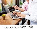 team work process. young... | Shutterstock . vector #689761861