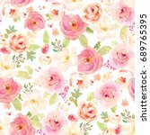 Stock photo cute vintage watercolor flower pattern repeating pink and red flower pattern 689765395