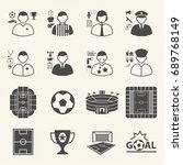 staff and people in soccer... | Shutterstock .eps vector #689768149