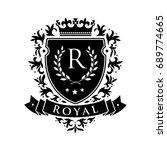 royal. heraldic emblem shield... | Shutterstock . vector #689774665