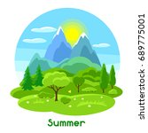summer landscape with trees ... | Shutterstock .eps vector #689775001