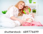 little daughter laughing with... | Shutterstock . vector #689776699